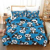 Linen Panda Duvet Quilt Doona Cover Set Single/Double/Queen/King Size Bed