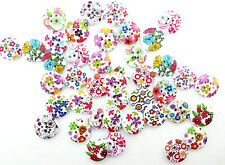 10 mixed flower pattern sew wooden buttons Scrapbook Decor Craft Sewing Floral