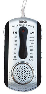 Naxa AM FM Compact Portable Radio Black with Earbuds and Speaker USA Seller