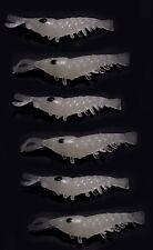 6 X GLOW IN THE DARK Gamberetti. morbido esca per pesca notturna acqua scuro & Deep Sea