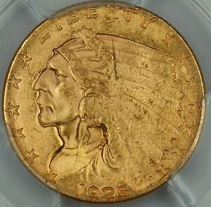 1925-D Indian $2.50 Quarter Eagle Gold Coin, PCGS UNC Details, Appears Choice BU
