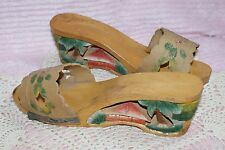 1940s World War 2 Japanese Asian Wood Hand Carved Shoes Sandals