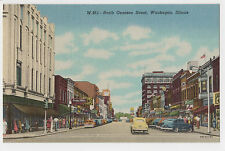 Linen card c 1940s/ N. Genesee St., Waukegan, Illinois/ Crowds, autos, shops