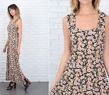 Vintage 90s Black + Pink Dress Grunge Floral Rose Print Maxi cutout open back XS