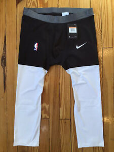 Nike NBA Pro 3/4 Compression Pants Player Issued Mens XXL AT9764-011 Black White