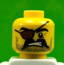 LEGO Minifigure Male Pirate Head, Black Beard Stubble & Moustache, Eyepatch (x1)
