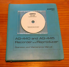 AMPEX AG-440 Tape Recorder Operation and Maintenance Manual on CD ROM