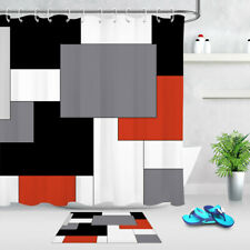Abstract Geometric Pattern Red Black White Shower Curtain Set Bathroom Decor 72""
