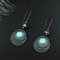 Fashion Jewelry Eardrop Long Hook Women Earrings Dangle Turquoise Vintage Round