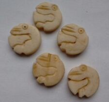 5 Indian Hand Carved Bone Bead, décoration animal, crème, 15 mm, pour Artisanat