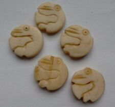 5 Decorative Hand Carved Bone Beads, Bird Design, 15 mm, Perle/embellir/Artisanat
