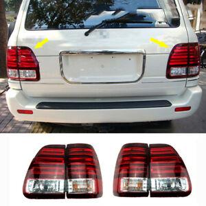 For Lexus LX470 1998-2002 Rear Tail Lights LED Rear Brake Lamps Red White 4Pcs