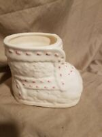 Vintage Baby Planter, White shoe with pink lace