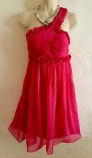 robe COCKTAIL  Rose Volants CEREMONIE MARIAGE T 42 NEUVE