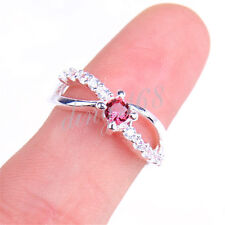5 Day SALE# 925 Sterling Silver Red Crystal 6mm Wide Open Cross Ring Size 8 Z687