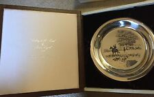 """1974 VINTAGE STERLING SILVER 925 JAMES WYETH PLATE W/ BOX """"RIDING TO THE HUNT"""""""