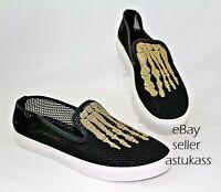 $460.00 Mara & Mine Jem Mesh Skull Slip-On Sneaker sz 10 black / gold