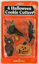 4 Halloween Cookie Biscuit Cutters Fox Run Witch Bat Owl Pumpkin New + Recipes