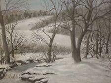 Vintage Original STREAM IN WINTER Maine Pastel Painting