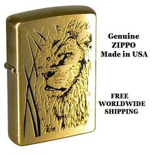 🌟🌟 ZIPPO LIGHTER 204B Brushed Brass Proud Lion NEW IN BOX AND GENUINE from USA
