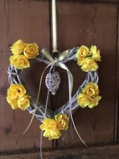 Wicker Heart Floral Shabby Chic Country Farmhouse Yellow Roses