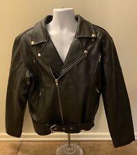 Wilda Black Leather Jacket Men Size 48 Belt Biker Riding Zippers Vented Back