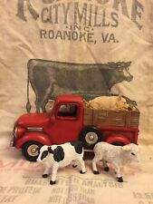Primitive Country Farmhouse Red Truck Planter Spring Easter Cow Pig Sheep Decor