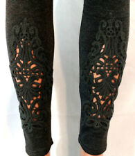 Leggings S M L XL One Size Charcoal Gray Stretch Lace Front Soft Jersey Knit