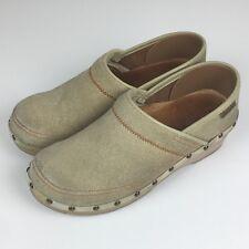 Dansko Professional Clogs Sz 38 Canvas Denim Studded Tan Beige Shoes 7.5 US
