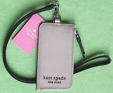 KATE SPADE CAMERON CARD CASE LANYARD ID:NWT LEATHER WARM BEIGE/WHITE
