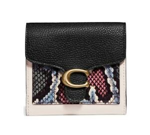 New Women's Coach Small Tabby Genuine Snakeskin & Leather Wallet - White $195