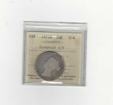 "**1872H Inverted ""A""**, ICCS Graded Canadian, 50 Cent, **G-4**"