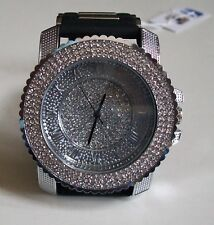 Men's Techno Pave Hip Hop Bling Simulated Diamond Silicon Band Fashion Watch