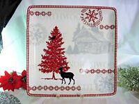 """222 Fifth Northwood Cottage Deer Stag Christmas Large Serving Platter Square 14"""""""