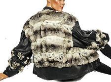 echte Chinchilla Pelzjacke Leder Pelz Jacke Weich Leather fur L Fell