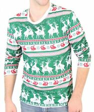 Adult Holiday Reindeers & Rabbits Pattern Long Sleeve Ugly Christmas T-Shirt Tee