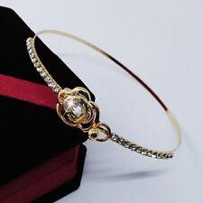 Chain Wristband Bracelet Women Lady Jewelry Gold Crystal Rose Flower Bangle Cuff