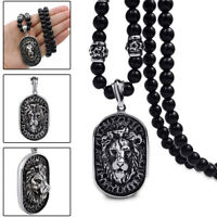Men's Stainless Steel Lion Head Shield Pendant Onyx Beads Chain Necklace Jewelry