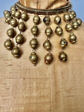 VINTAGE POSSIBLE MIRIAM HASKELL EARLY FESTOON DANGLE BALL CHAIN BRASS NECKLACE
