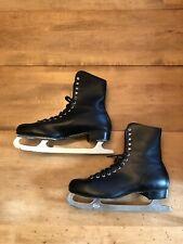 Vintage Canadian Black Ice Skates Men's Size 13 Plaid Lining Sheffield Steel