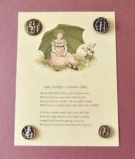 Card of 4 Kate Greenaway Buttons