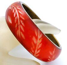 Hand Carved Bovine Bangle Bracelet Red Enamel Wide Round Flower Design Vintage