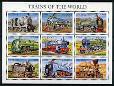 Ghana 1998 MNH Trains 9v M/S Railways Züge Trenes Treni Chemin de Fer Stamps