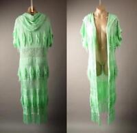 Light Green Hoodie Crochet Long Maxi Duster Sweater Cardigan 268 mv Jacket S M L