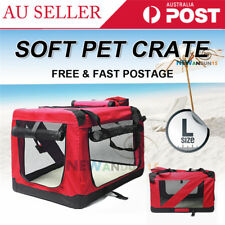 Red Pet Soft Crate Portable Dog Cat Carrier Travel Cage Kennel Folding Large Bag