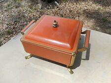 Mid Century Anchor Hocking Fire King Chafing Casserole Dish Orange & Gold