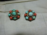 A pair of Vintage Clip on Earrings with Turquoise & Faux Coral from Nepal