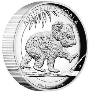 2016 Australian Koala 1 oz Dollar $1 Silver Proof High Relief Coin Australia