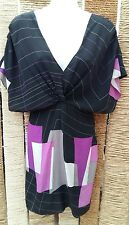OASIS BNWT Ladies 100% Silk Purple Mix Geometric Print Dress Size 10 RRP £65