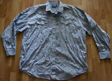 Mens Panhandle Slim Blue / Grey Paisley Pearl Snap Long Sleeve Shirt, Size XXL